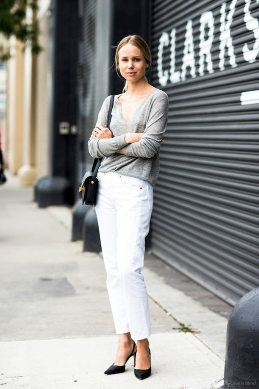 elin kling, white jeans, mom jeans, grey sweater, black pumps, work, casual, spring weekends, neutrals,