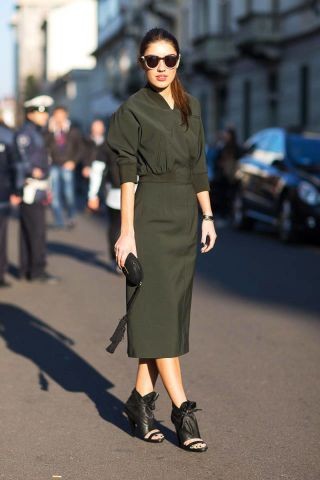 spring-work-outfits-army-green-midi-dress-skirt-monochromatic-black-peep-toe-heels-via-harpersbazaar.com