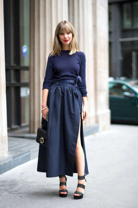 spring-work-outfits-navy-long-skirt-slit-belt-monochromatic-sandals-via-hbz