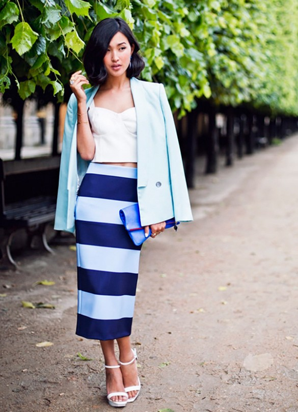 striped-pencil-skirt-midi-skirt-jacket-on-shoulders-pastels-blue-crop-top-bustier-via-garypepper