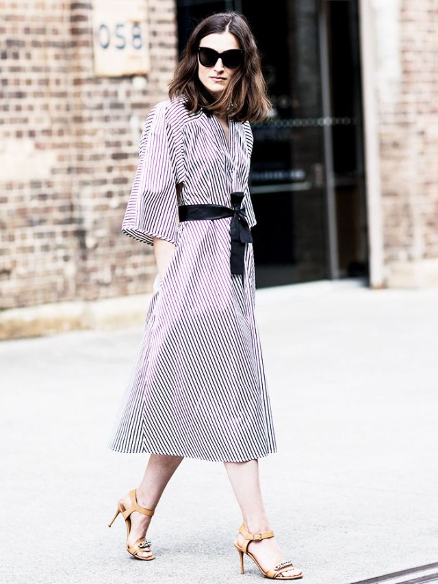 striped-shirt-dress-belt-sandals-work-spring-summer-via-www