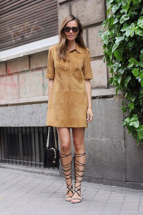 suede-dress-tall-gladiator-sandals-via-theallhateus.com