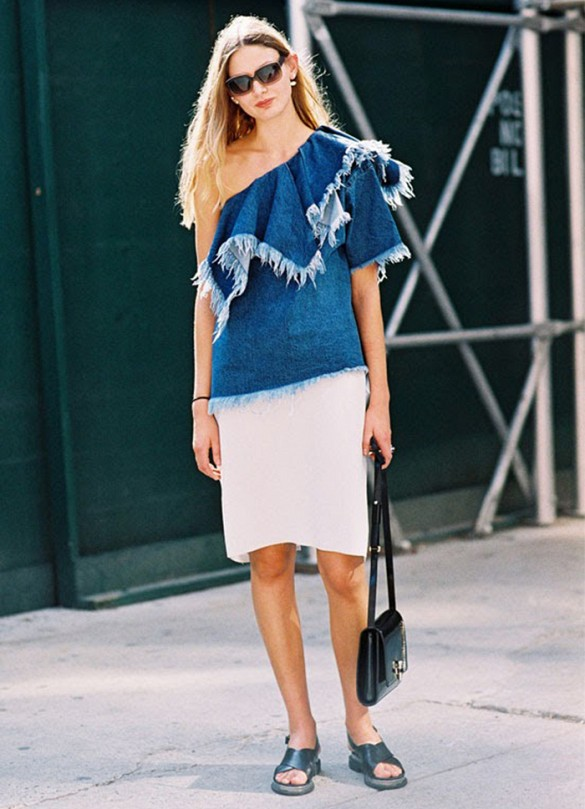 summer-pencil-skirt-white-one-shoulder-denim-fray-top-ruffle-black-sandals-slides-via-