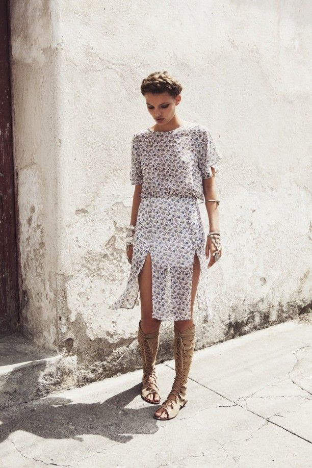 summer-printed-dress-tall-gladiator-sandals-via-feedly.com