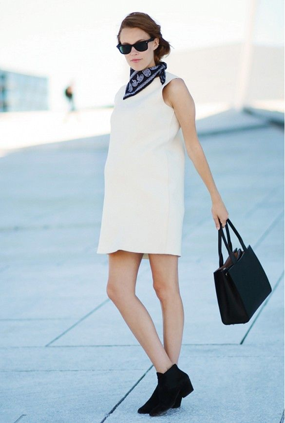 summer-style-little-white-dress-bandana-black-booties-black-and-white-via-www, bump style