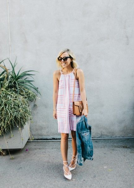 summer-sundress-denim-ajcket-lace-up-ballet-flats-wedding-engagement-party-via-damselindior
