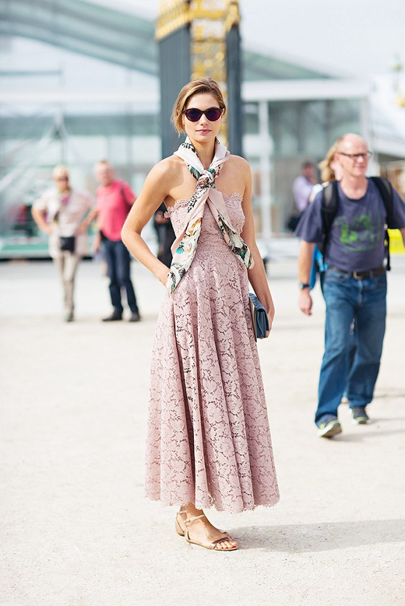 summer-wedding-lace-strapless-dress-scarf-sandals-via-stockholm-street-style