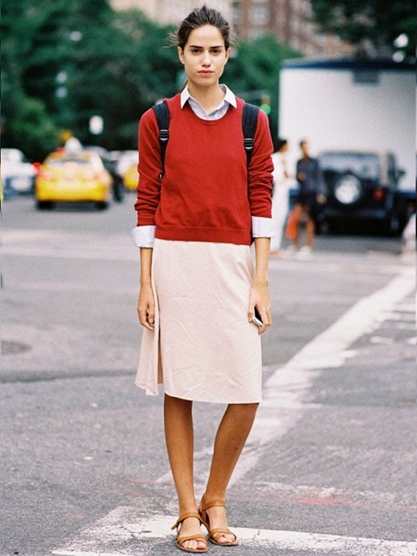 summer-work-style-oxford-knee-pencil-skirt-classic-work-spring-summer-sandals-via-vanessa jackman