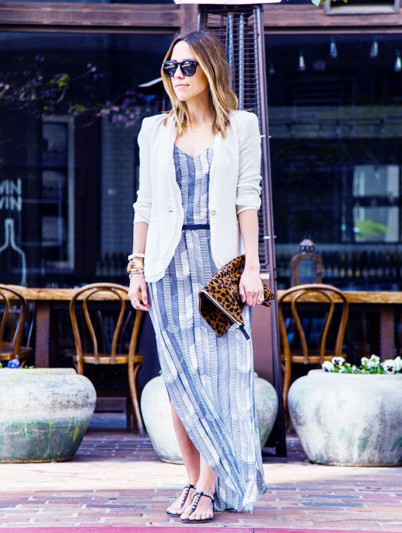 summer-work-summer-maxi-dress-white-blazer-leopard-print-clutch-flat-sandals-going-out-weddings-via-
