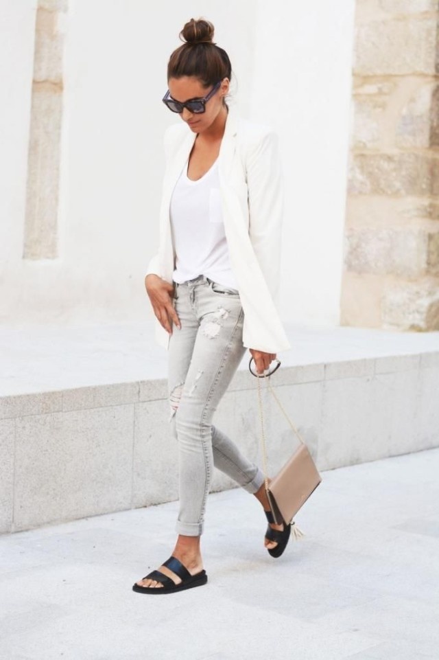 weekend-style-night-out-going-out-white-blazer-distressed-denim-white-tee-spring-summer-via-shopstyle