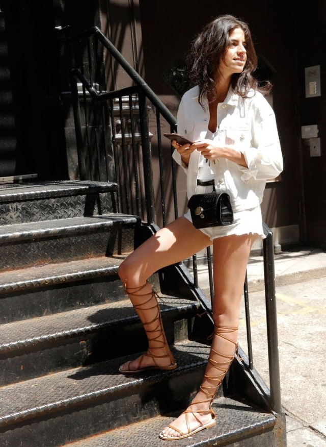 white-denim-cutoff-jean-jacket-tall-gladiator-sandals-via-zara.com