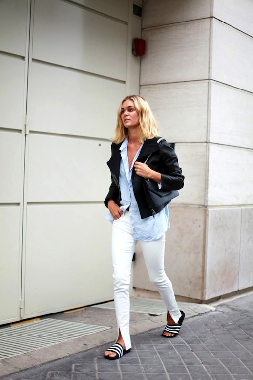 white-jeans-oversized-oxford-black -moto-jacket-shower-sandals-adidas-slides-weekend-spring-weekend-vasual-via-adenorah