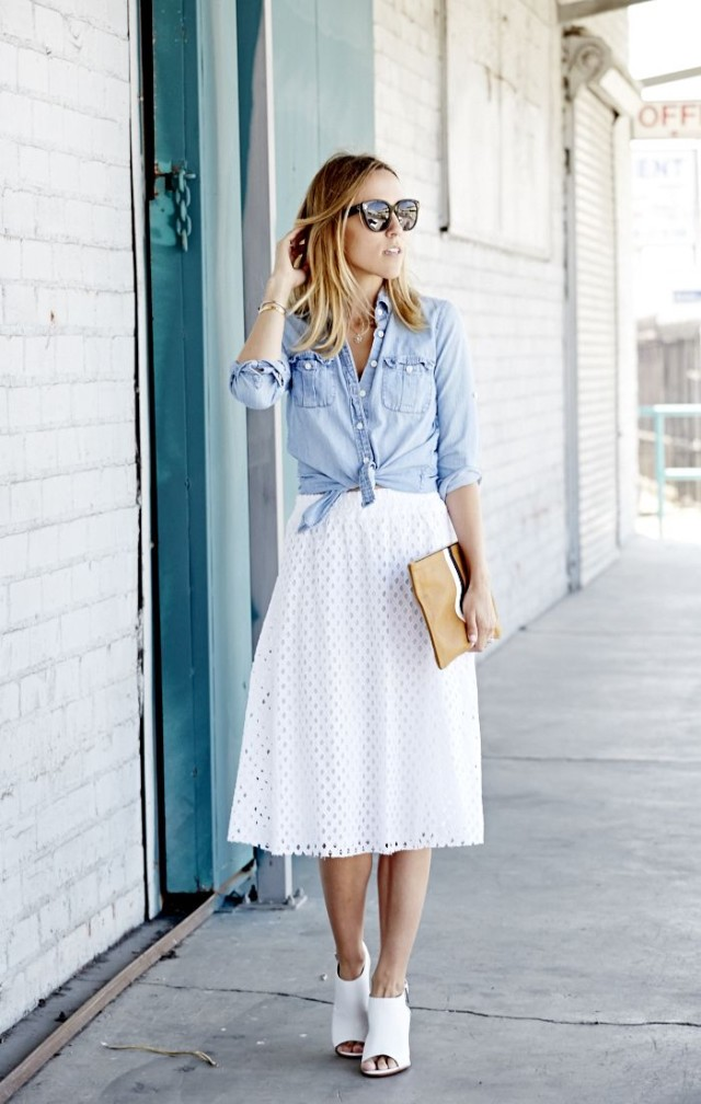 white-midi-skirt-chambray-shirt-denim-shirt-sunglasses-preppy-summer-ladylike-work-mules-via-damsel in dior