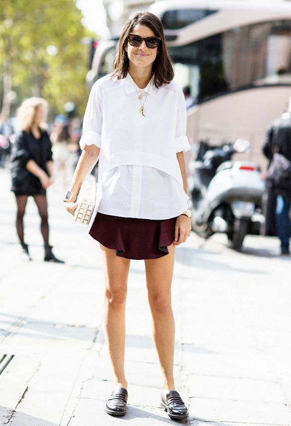 white-oxford-burgundy-mini-skirt-black-oxfords-white-clutch-manrepeller-leandra-medine