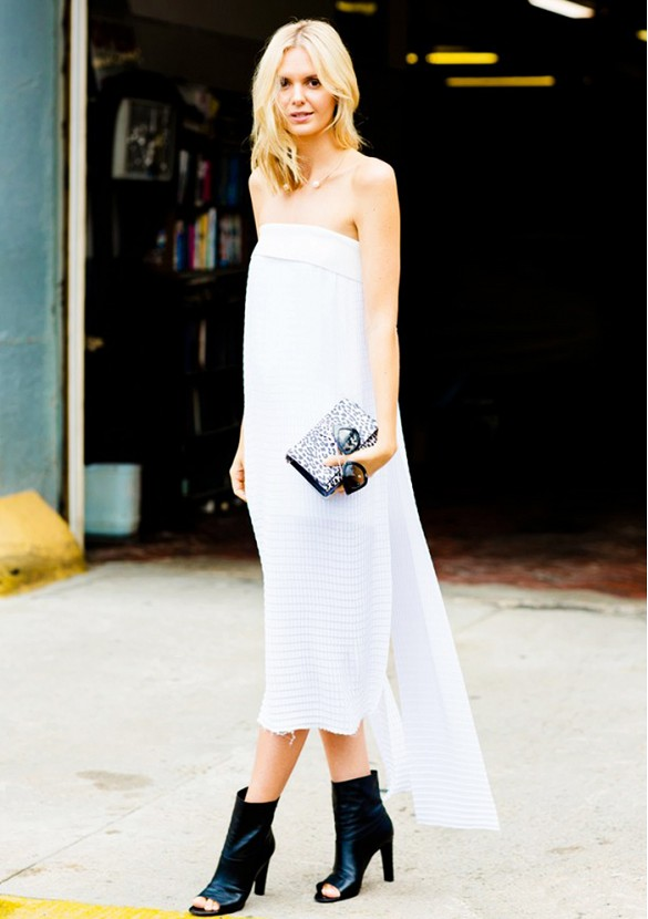 white-strapless-dress-midi-dress-cape-dress-frayed-ege-clutch-black-and-white-black-peep-toe-ankle-booties-summer-booties-summer-wedding-party-evening-going-out-white-party-via-candice lake