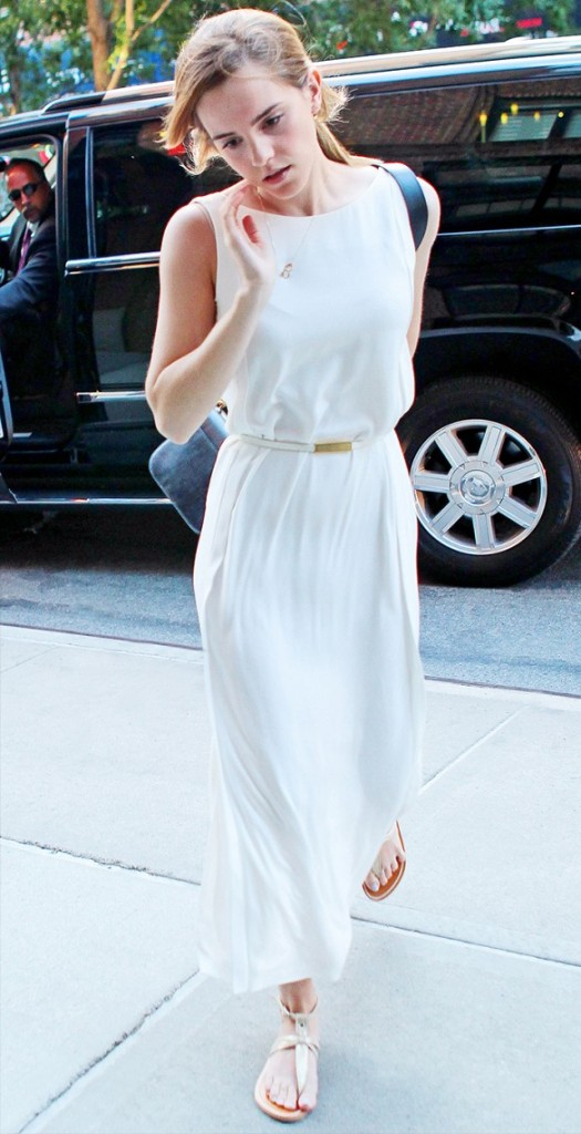 white-summer-maxi-dress-gold-metallic-sandals-summer-white-dress-sundress-emma-watson-via-www