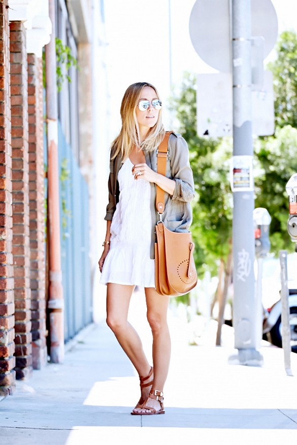 white-wrap-dress-summer-sundress-army-green-jacket-gladiator-sandals-via-damsel in dior