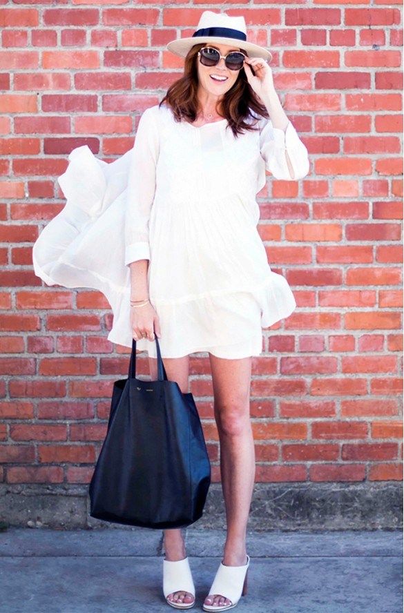 white-wrap-dress-summer-sundress-boho-dress-mules-straw-hat-sunglasses-black-tote-via-