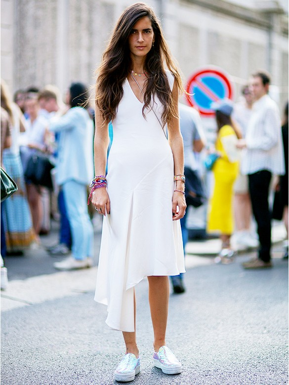 white-wrap-dress-summer-sundress-cocktail-dress-for-daytime-metallic-holographic-sneakers-army-party-summer-via-athens street style