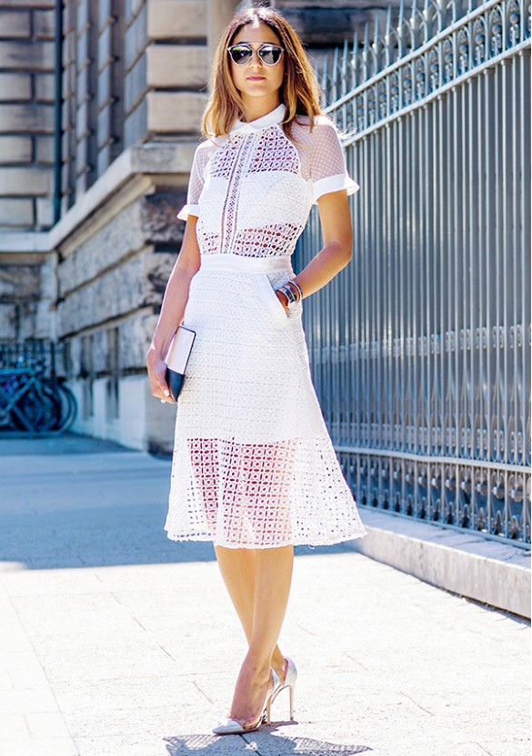 white-wrap-dress-summer-sundress-eyelet-shirt-dress-perforated-sheer-metallic-heels-via-soraya bakhtiar
