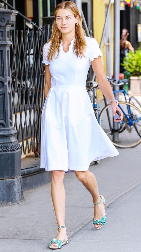 white-wrap-dress-summer-sundress-ladylike-scalloped-dress-sandals-leaf-print-sandals-flat-sandals-work-summer-work-model-style-via-www