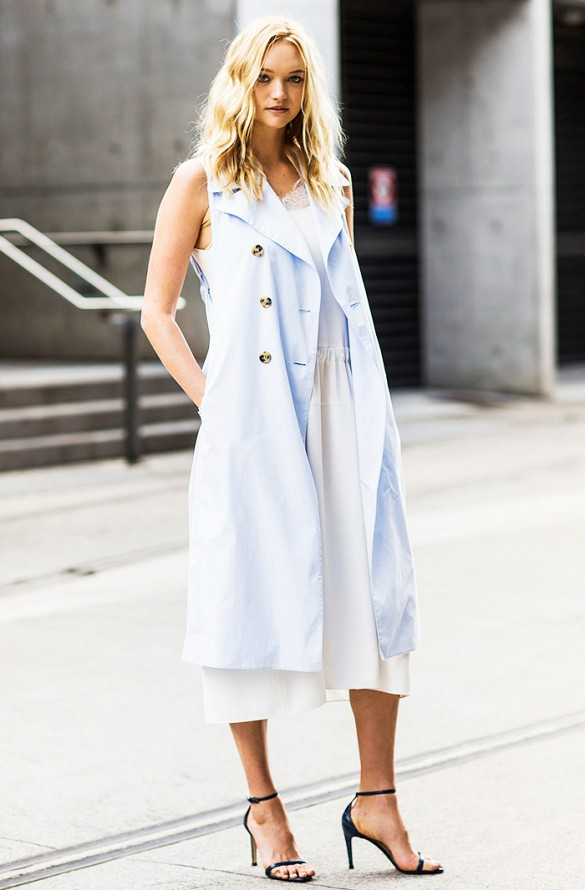 white-wrap-dress-summer-sundress-pastel-blue-long-vest-sandals-heels-work-via-a love is blind