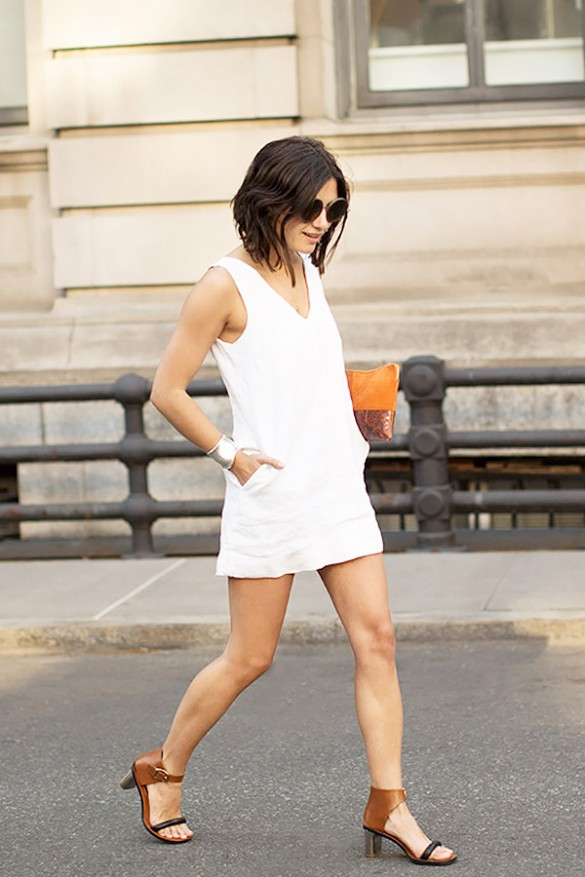 white-wrap-dress-summer-sundress-silver-cuff-sandals-going-out-night-out-date-night-clutch-via-garance-dore