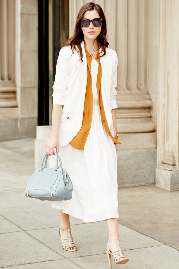 white-wrap-dress-summer-sundress-summer-work-snakeskin-sandals-via- pepe leon
