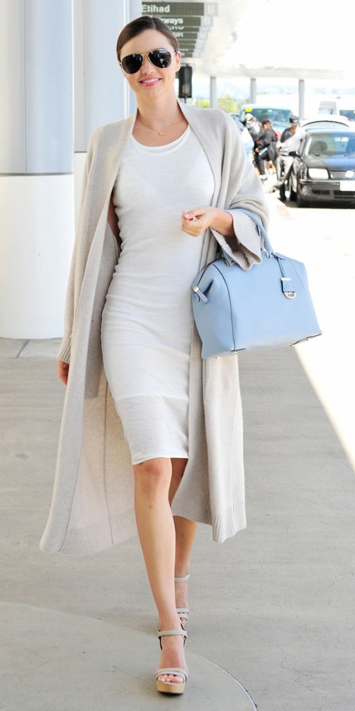 white-wrap-dress-summer-sundress-white-shift-dress-sweater-coat-wedges-miranda-kerr-summer-work-via-www