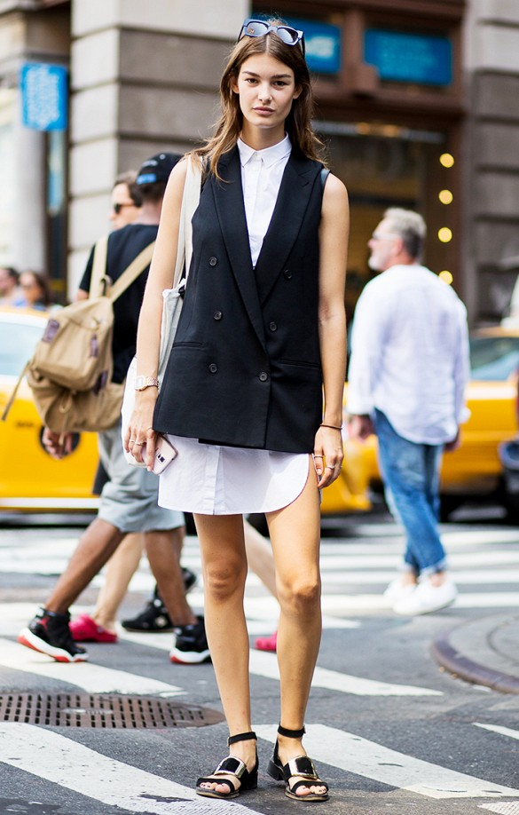 white-wrap-dress-summer-sundress-white-shirt-dress-black-vest-sandals-black-and-white-work-summer-work-going-out-date--via-the urban spotter