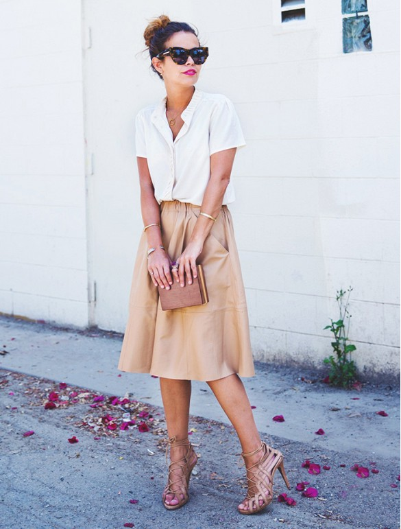 work-leather-skirt-white-short-sleeve-blouse-cage-sandals-whowhatwear