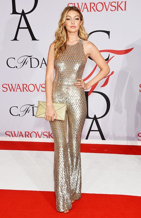 CFDAs, night out, going out, cocktail party, party, evening, red carpet, celeb style, gigi hadid, metallic gold jumpsuit