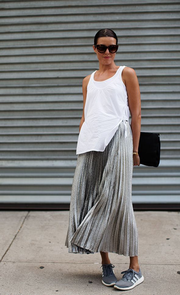 pleated maxi skirt, white tank, summer outfit