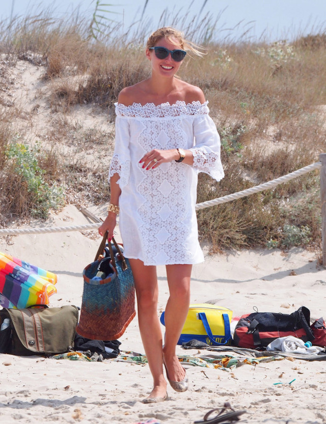 what to wear to the beach-olivia palermo-off the shoulder beach cover up-white eyelet beach dress-bag-celebs at the beach