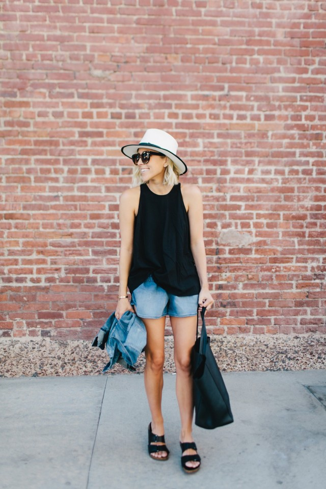 summer weekend outfits, hat, birkenstocks, birks, black tank, short shorts, jean jacket, tote, bbq, pool party, damsel in dior