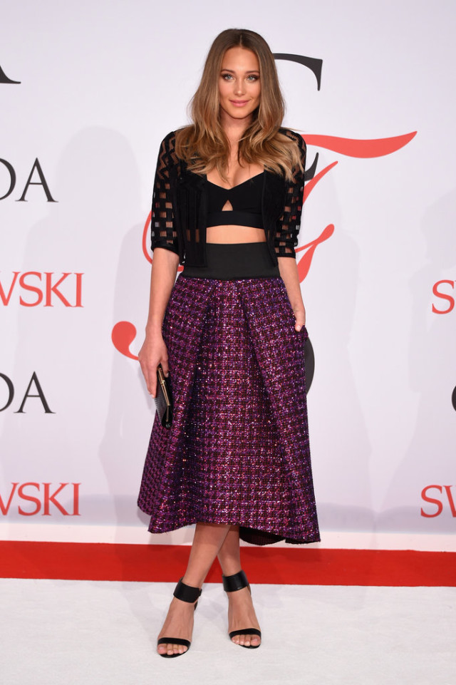 Hannah-Davis, CFDAs, night out, going out, cocktail party, party, evening, red carpet, celeb style, milly, midi skirt, crop top