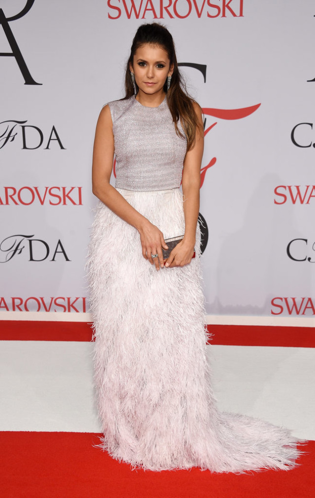 Nina-Dobrev, CFDAs, night out, going out, cocktail party, party, evening, red carpet, celeb style