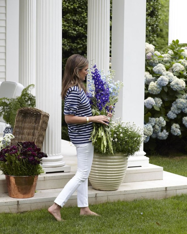 Aerin Lauder, white jeans, striped tee, stripes, navy and white, hamptons, country, gardening, summer outfits, bbq, summer weekend