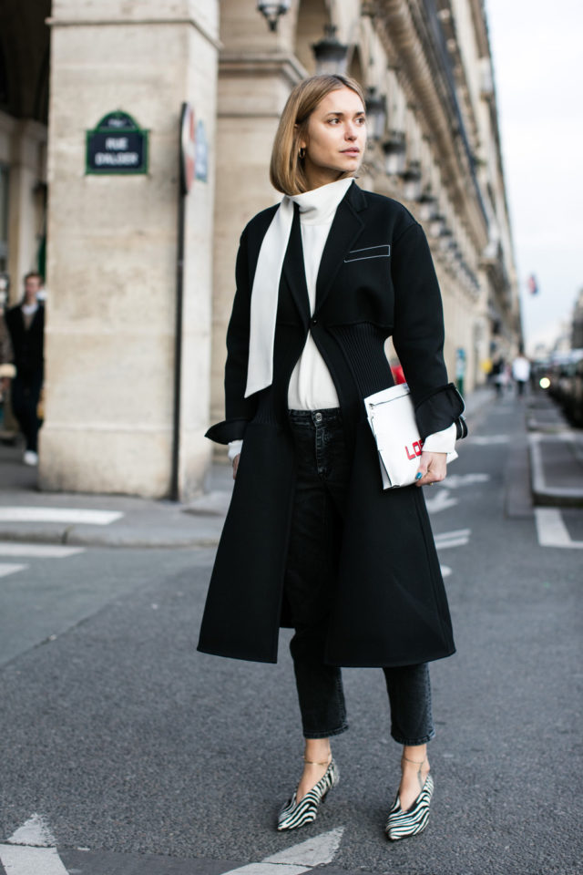 black and white-glove shoes-zebra print shoes-cropped jeans-black jeans-black and white-black coat-white turtleneck-look de pernille-spring work outfit