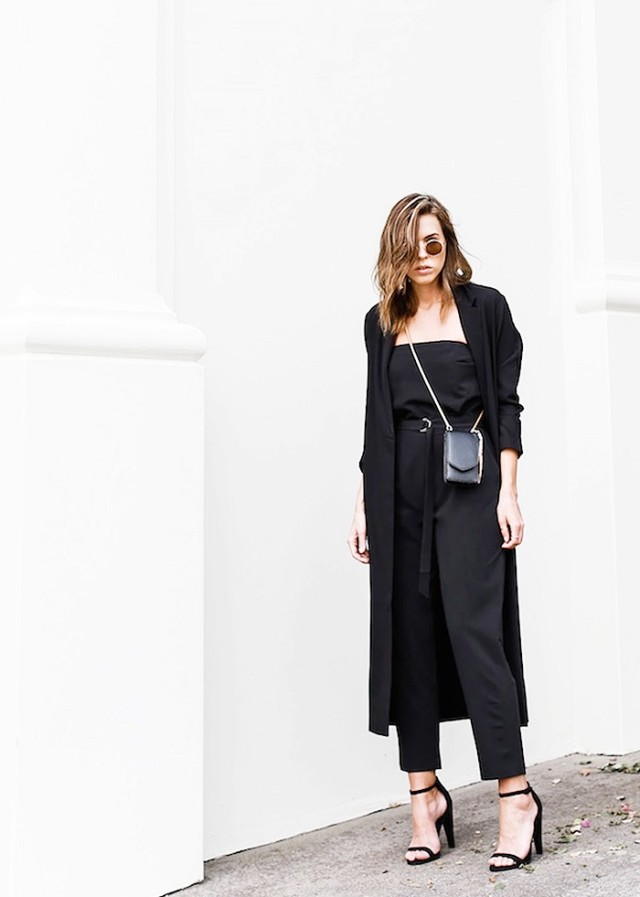 black-duster-coat-black-jumpsuit-sandals-all-black-date-night-going-out-cocktail-party-via-modern legacy