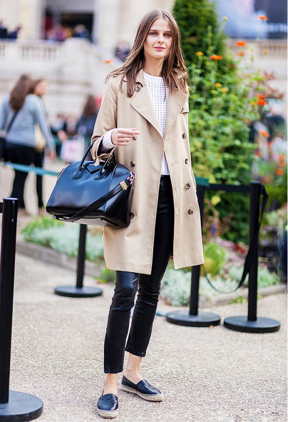 black-skinnies-black-and-white-white-perforated-sweater-espadrille-flats-espadrilles-trench-coat-via-athens-street-style