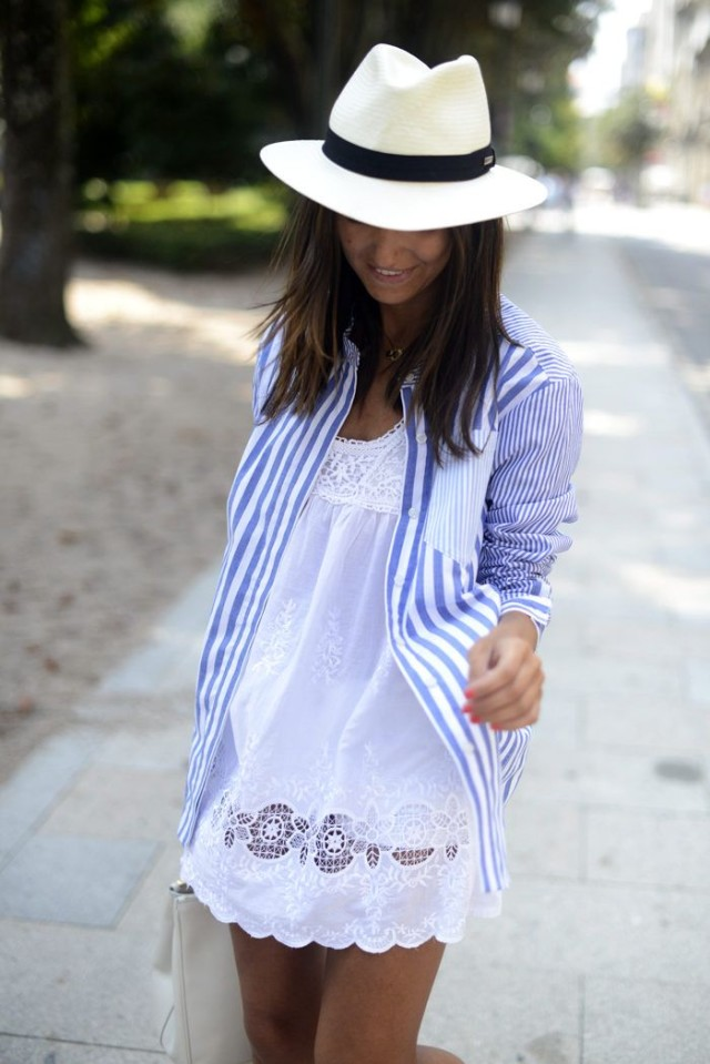 coverup-white-eyelet-dress-lace-scallop-summer-dress-little-white-dress-striped-oxford-oxford-open-over-dress-hat-pool-bbq-via-lolobu.com