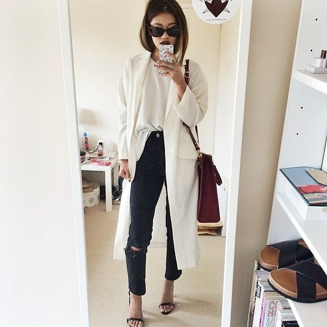 duster-coat-black-distressed-skinnies-half-tuck-shirt-sandals-via-