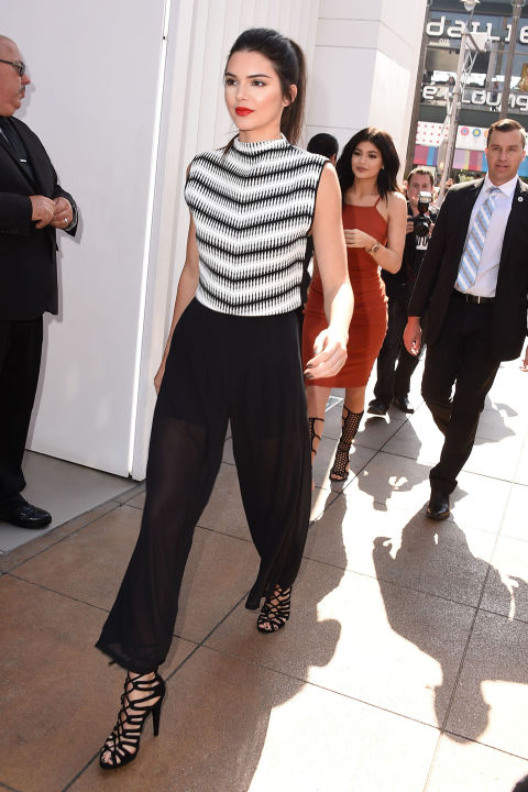 kendall jenner, culottes, sheer, black and white, summer outfit, night out, work