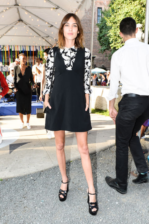 stella mccartney pre-fall presentation, alexa chung, jumper dress, platform sandals, black and white, printed blouse, work