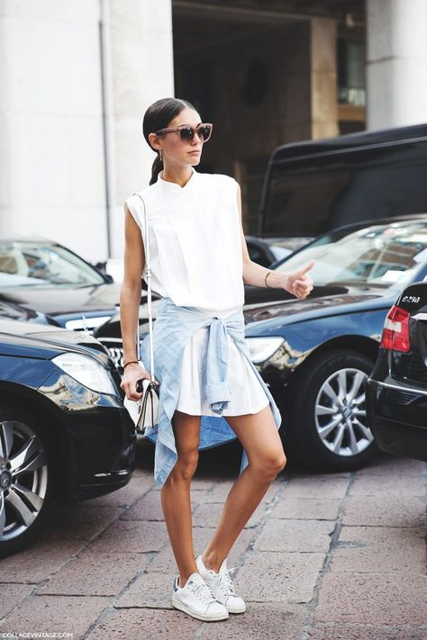 hite-shirt-dress-sneakers-adidas-sneakers-chambray-shirt-tied-around-your-waist-summer-sightseeing-acaiton-weekend-brunch-vacation-outfit-via-collagevintage.com