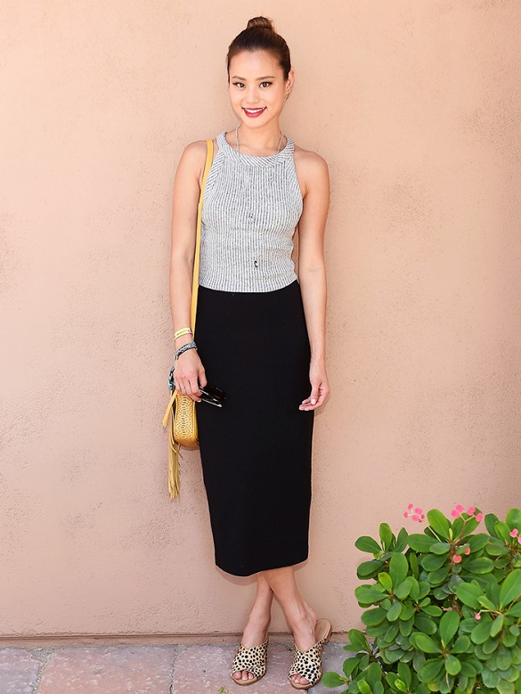 jamie-chung-black-pencil-skirt-crop-top-flat-sandals-slides-jamie-chung-summer-work-outfits-via-www