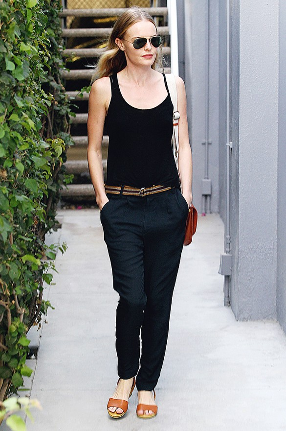 kate-bosworth-navy-and-black-cami-tank-sandals-menswear-pants-tomboy-via-www
