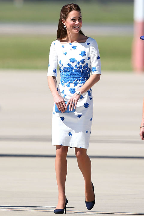 kate-middleton-blue-and-white-floral-sheath-summer-spring-party-brunch-shower-via-getty