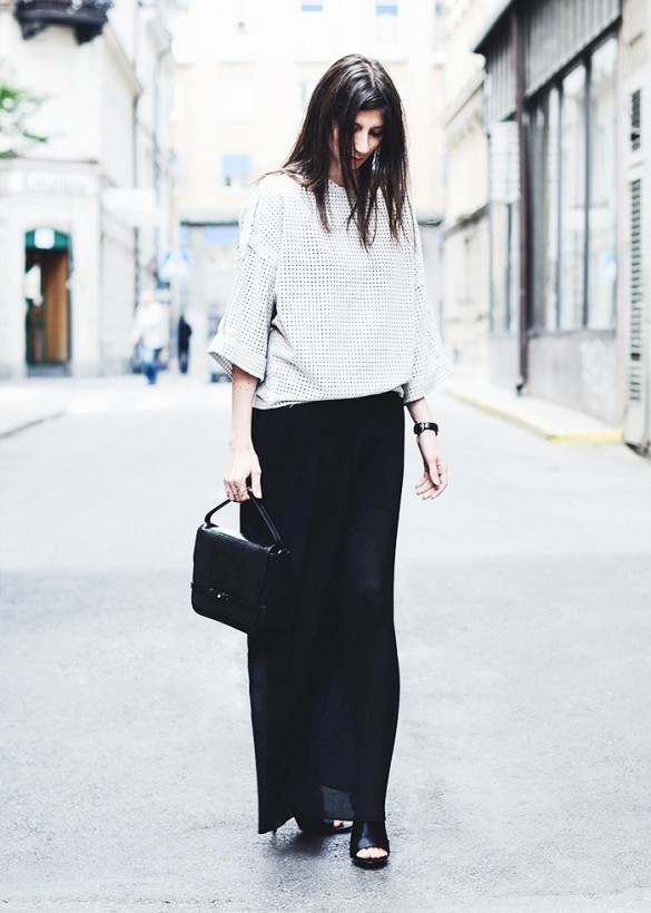 long-black-maxi-skirt-peforated-white-top-mules-black-and-white-summer-work-outfits-via-